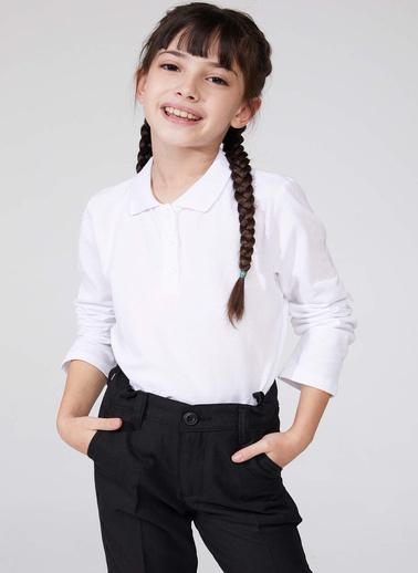 DeFacto Uzun Kollu Polo T-shirt Beyaz
